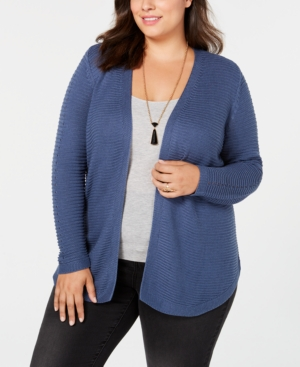 Belldini BELLE BY BELLDINI PLUS SIZE RIBBED-KNIT CARDIGAN