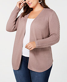 Belldini Plus Size Ribbed-Knit Cardigan