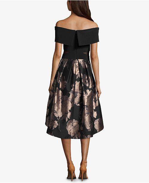 14205861 XSCAPE Off-The-Shoulder Metallic Fit & Flare Dress & Reviews ...