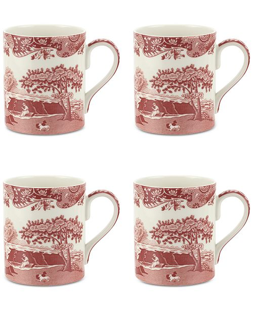 Spode Cranberry Italian Mug, Set of 4