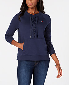 Tommy Hilfiger Sport Lace-Up Detail Sweatshirt, Created for Macy's