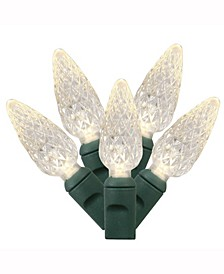 100 Warm White C6 LED Light on Green Wire, 34' Christmas Light Strand