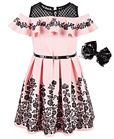 Beautees Big Girls 2-Pc. Skater Dress & Bow Set