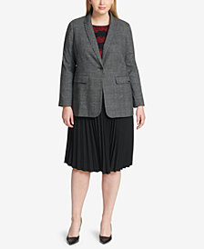 Calvin Klein Plus Size Plaid Blazer, Floral-Lace Top & Pleated A-Line Skirt