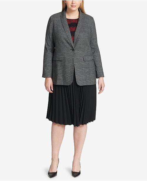 da3c3e000f ... Calvin Klein Plus Size Plaid Blazer, Floral-Lace Top & Pleated A-Line  ...