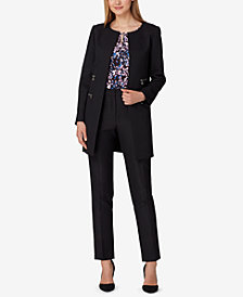 Tahari ASL Long Blazer, Printed Top & Straight-Leg Ankle Pants