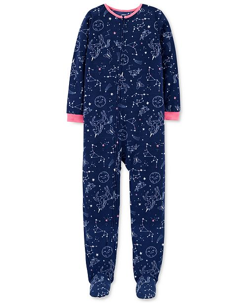 647e9bbd0 Carter s Little   Big Girls Constellation-Print Fleece Pajamas ...