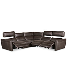 Fanna 5-Pc. Leather Sectional with 3 Power Recliners and Articulating Headrest, Created for Macy's
