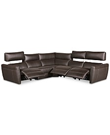 CLOSEOUT! Fanna 5-Pc. Leather Sectional with 3 Power Recliners and Articulating Headrest, Created for Macy's