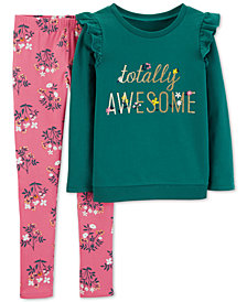 Carter's Little & Big Girls Totally Awesome T-Shirt & Floral-Print Leggings Set