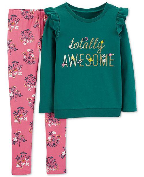 a4c4460b95d8e Carter's Little & Big Girls Totally Awesome T-Shirt & Floral-Print Leggings  Set