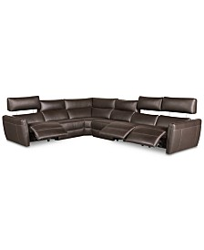 CLOSEOUT! Fanna 6-Pc. Leather Sectional with 3 Power Recliners and Articulating Headrest, Created for Macy's