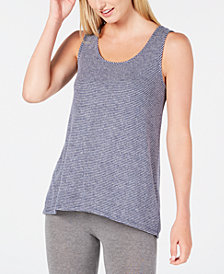 Alfani Brushed Hacci Knit Striped Pajama Tank, Created for Macy's