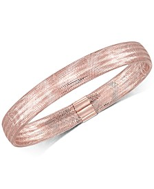 Stretch Bangle Bracelet in 14k Yellow, White or Rose Gold, Made in Italy