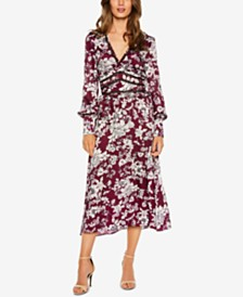 Bardot Floral-Print Lattice-Trim Midi Dress