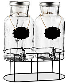 Jay Imports Sierra Double Chalkboard Beverage Dispenser Set with Silver-Tone Lids & Metal Rack