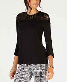 MICHAEL Michael Kors Lace-Yoke 3/4-Sleeve Top