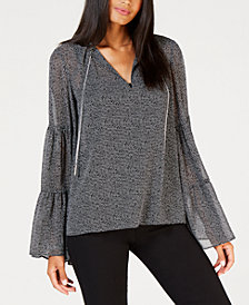 MICHAEL Michael Kors Chain-Hardware Peasant Top