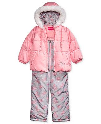 a13f6e577 London Fog Little Girls Hooded Unicorn Snowsuit with Faux-Fur Trim ...
