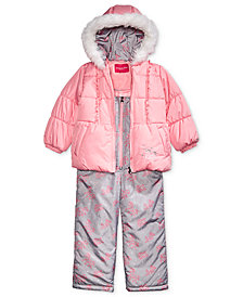 London Fog Little Girls Hooded Unicorn Snowsuit with Faux-Fur Trim