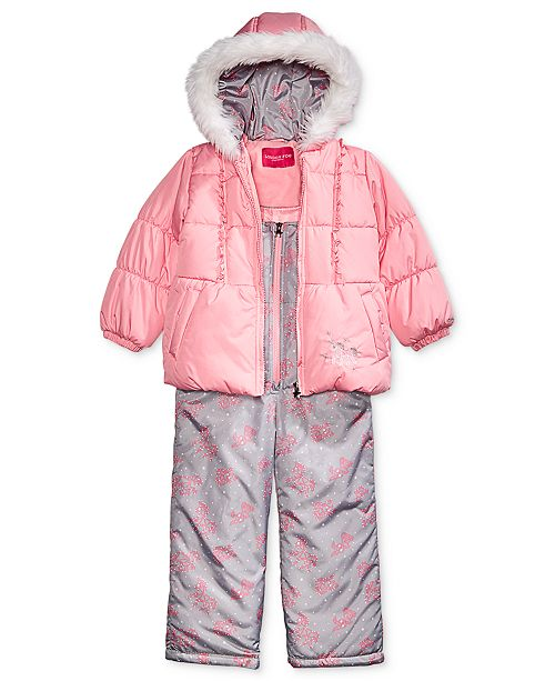 dca82e194b8d London Fog Toddler Girls Hooded Unicorn Snowsuit with Faux-Fur ...