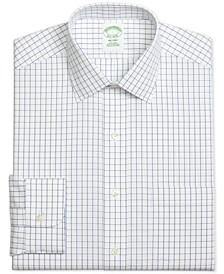 Men's Milano Extra-Slim Fit Non-Iron Pinpoint Windowpane Blue Dress Shirt