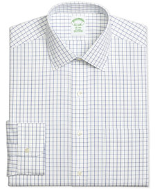 Brooks Brothers Men's Milano Extra-Slim Fit Non-Iron Pinpoint Windowpane Blue Dress Shirt