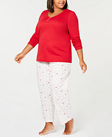 Charter Club Plus Size Cotton Pajama Set, Created for Macy's