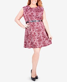 NY Collection Plus Size Belted Fit & Flare Dress