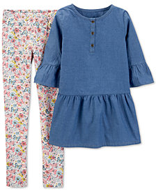 Carter's Little & Big Girls 2-Pc. Chambray Tunic & Printed Leggings Set