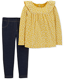 Carter's Toddler Girls 2-Pc. Ruffle-Shoulder Top & Leggings Set