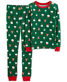Carter's Little & Big Boys 2-Pc. Holiday-Print Snug-Fit Cotton Pajama Set
