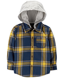 Carter's Toddler Boys Hooded Plaid Cotton Shirt