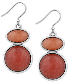 Lucky Brand Silver-Tone Stone Double Drop Earrings