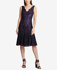 DKNY V-Neck Scalloped Lace Dress, Created for Macy's