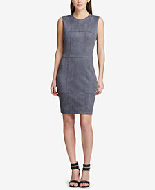 DKNY Seamed Faux-Suede Sheath Dress, Created for Macy's