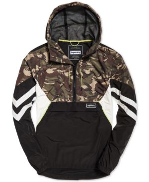 SUPERDRY Jared Color-Block Pullover Hooded Jacket in Camo/Black