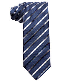 HUGO Men's Navy Stripe Slim Silk Tie