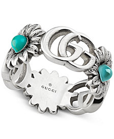 Gucci Multi-Stone Logo Flower Ring in Sterling Silver YBC527394001014