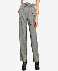 BCBGMAXAZRIA Plaid Paper Bag Pants