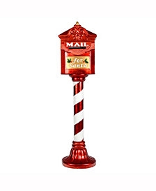"Vickerman 36"" Red Mailbox on a Red and White Candy Cane pole that says Mail For Santa"