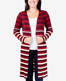 NY Collection Striped Open-Front Duster Cardigan