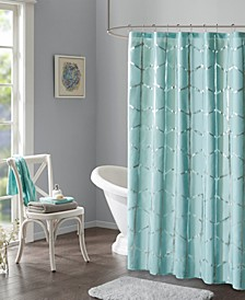 "Raina 72"" x 72"" Printed Metallic Shower Curtain"