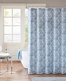 "Madison Park Mahi 72"" x 72"" Printed Watercolor Sheer Shower Curtain with Lining"