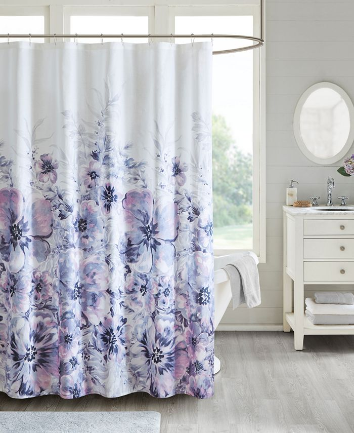 "Madison Park - Enza 72"" x 72"" Floral 100% Cotton Printed Shower Curtain"