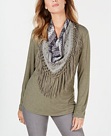 Style & Co Petite Scarf-Neck Fringed Top, Created for Macy's