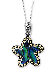 "EFFY® Paua Shell Starfish 18"" Pendant Necklace in Sterling Silver & 18k Gold"
