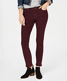 Style & Co Petite Frayed Corduroy Ultra-Skinny Pants, Created for Macy's