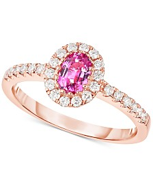 Pink Sapphire (5/8 ct. t.w.) & Diamond (1/3 ct. t.w.) Ring in 14k Rose Gold