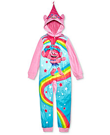 DreamWorks Trolls Little & Big Girls Hooded 1-Piece Pajamas